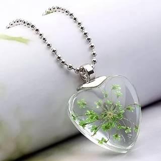 Náhrdelník Crystal Heart-Zelená