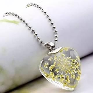 Náhrdelník Crystal Heart-Žltá