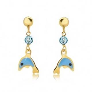 Náušnice zo žltého 9K zlata - glazúrovaný modrý delfín, ligotavá gulička