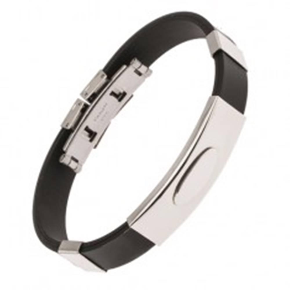 Šperky eshop Čierny gumený náramok, lesklá oceľová známka s elipsou