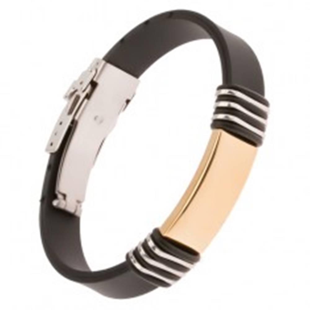 Šperky eshop Čierny gumený náramok s oceľovou známkou zlatej farby