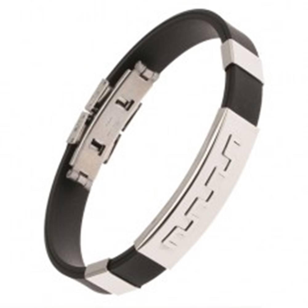 Šperky eshop Čierny náramok z gumy, oceľová známka so zúbkovým vzorom