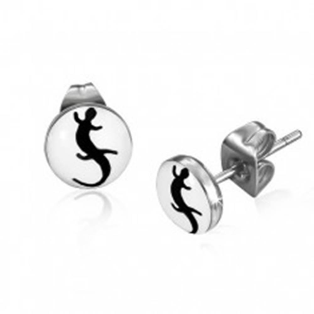 Šperky eshop Okrúhle náušnice z ocele, čierna jašterička