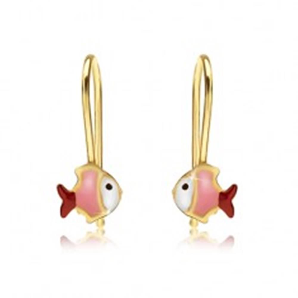 Šperky eshop Zlaté náušnice 375, bielo-ružovo-červená rybička, lesklý email