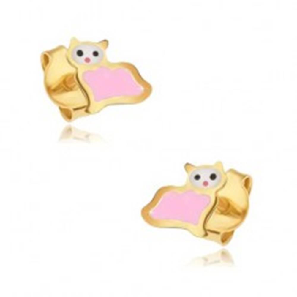 Šperky eshop Zlaté puzetové náušnice 375 - plochá ružovo-biela mačička, lesklý email