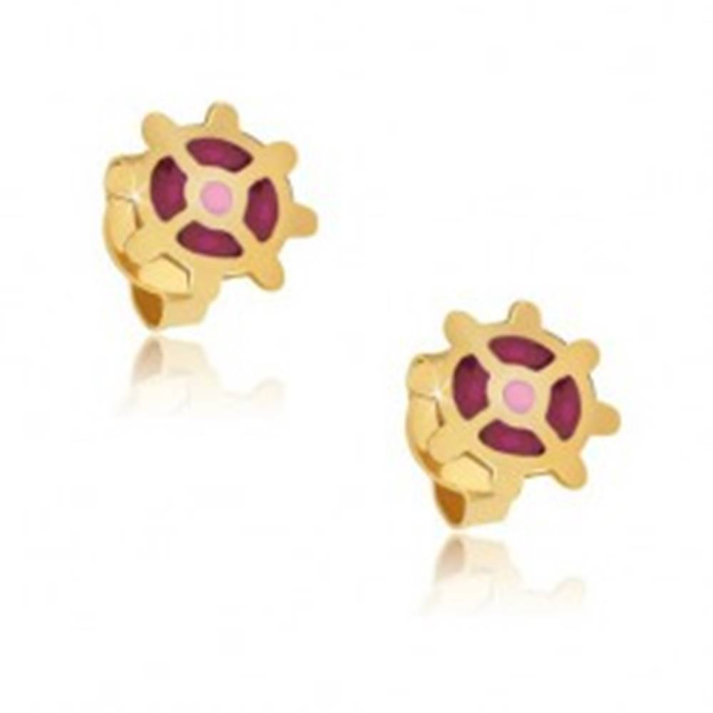 Šperky eshop Zlaté puzetové náušnice 375 - ružové koliesko s lesklými výčnelkami, glazúra
