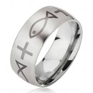 Matný oceľový prsteň - obrúčka striebornej farby, potlač kríža a ryby - Veľkosť: 52 mm