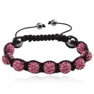 Náramok Shamballa - ružové zirkónové guľôčky, čierna šnúrka