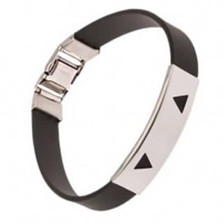 Náramok z gumy čiernej farby, známka s trojuholníkovými výrezmi