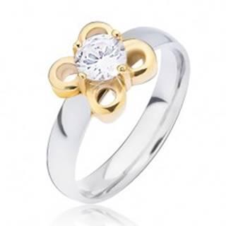 Oceľový prsteň striebornej farby, kvietok zlatej farby s čírym zirkónom - Veľkosť: 49 mm