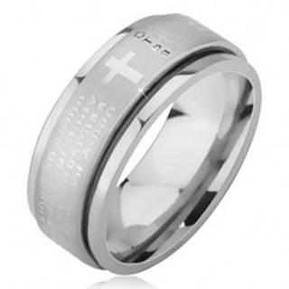 Prsteň z chirurgickej ocele - strieborná farba, vystúpený pás s modlitbou Otčenáš - Veľkosť: 51 mm