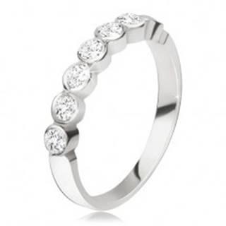 Strieborný prsteň 925 - pás okrúhlych čírych zirkónov v lesklých objímkach - Veľkosť: 47 mm