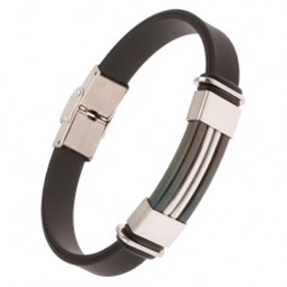 Šperky eshop Gumený náramok čiernej farby, čierna známka s pásmi striebornej farby
