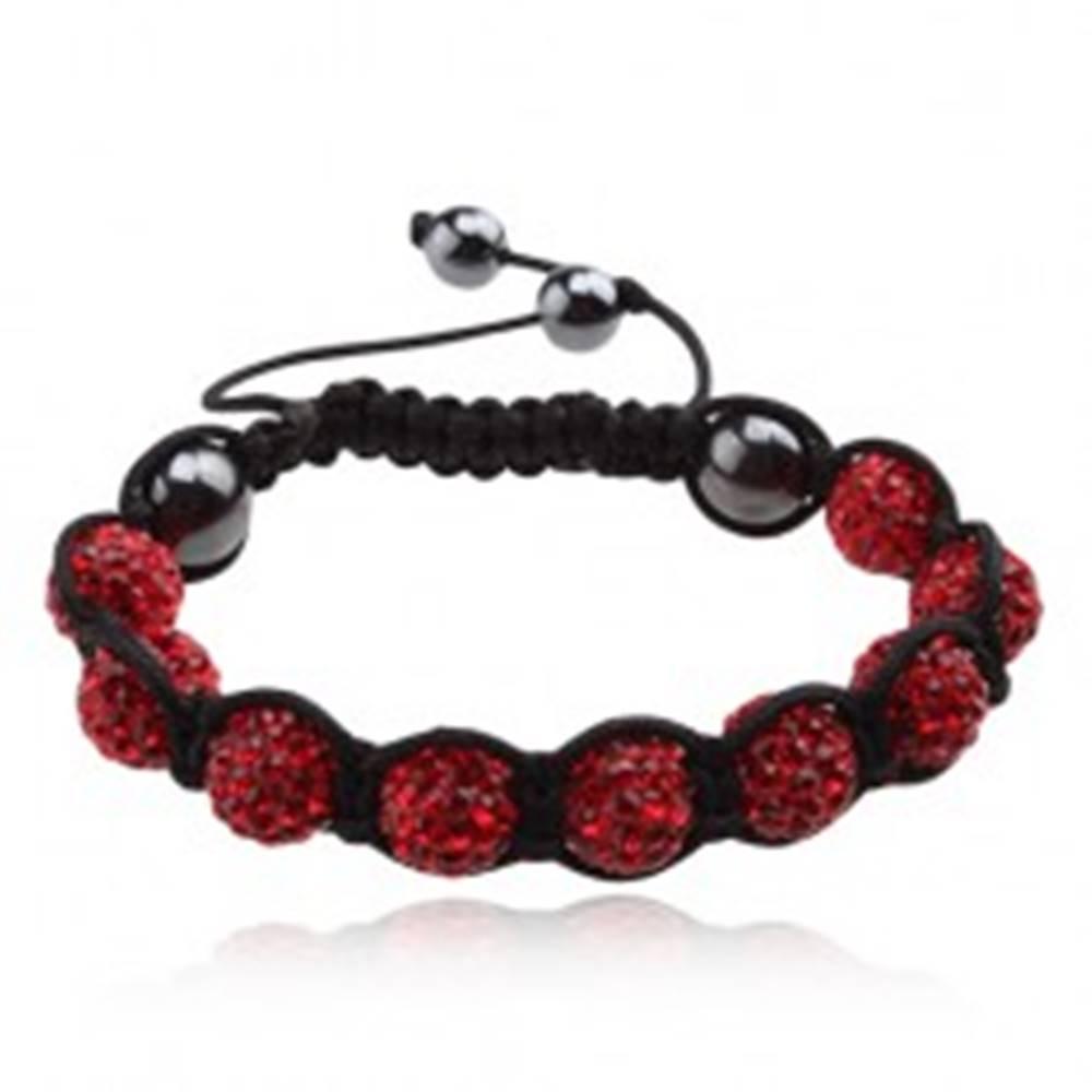 Šperky eshop Náramok Shamballa, guličky s červenými zirkónmi