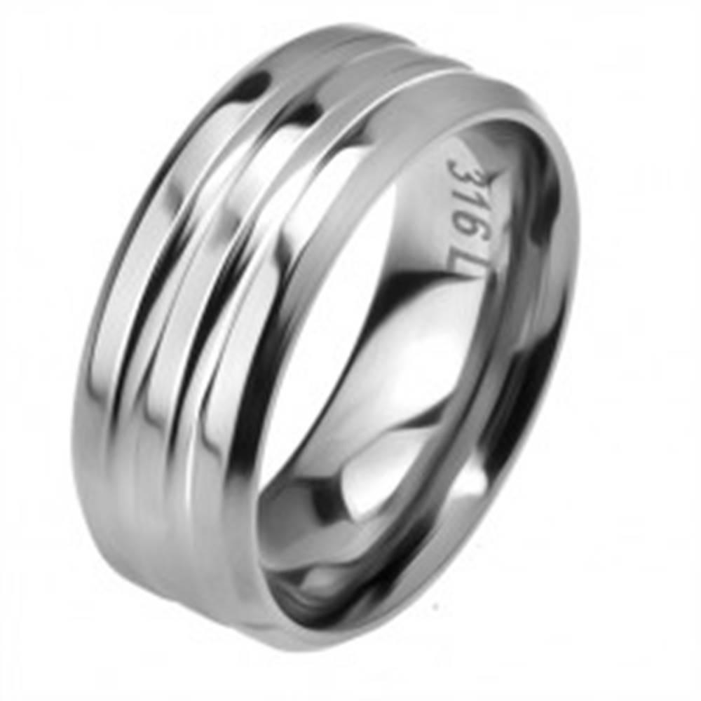 Šperky eshop Oceľový prsteň, dva žliabky, skosené okraje - Veľkosť: 57 mm