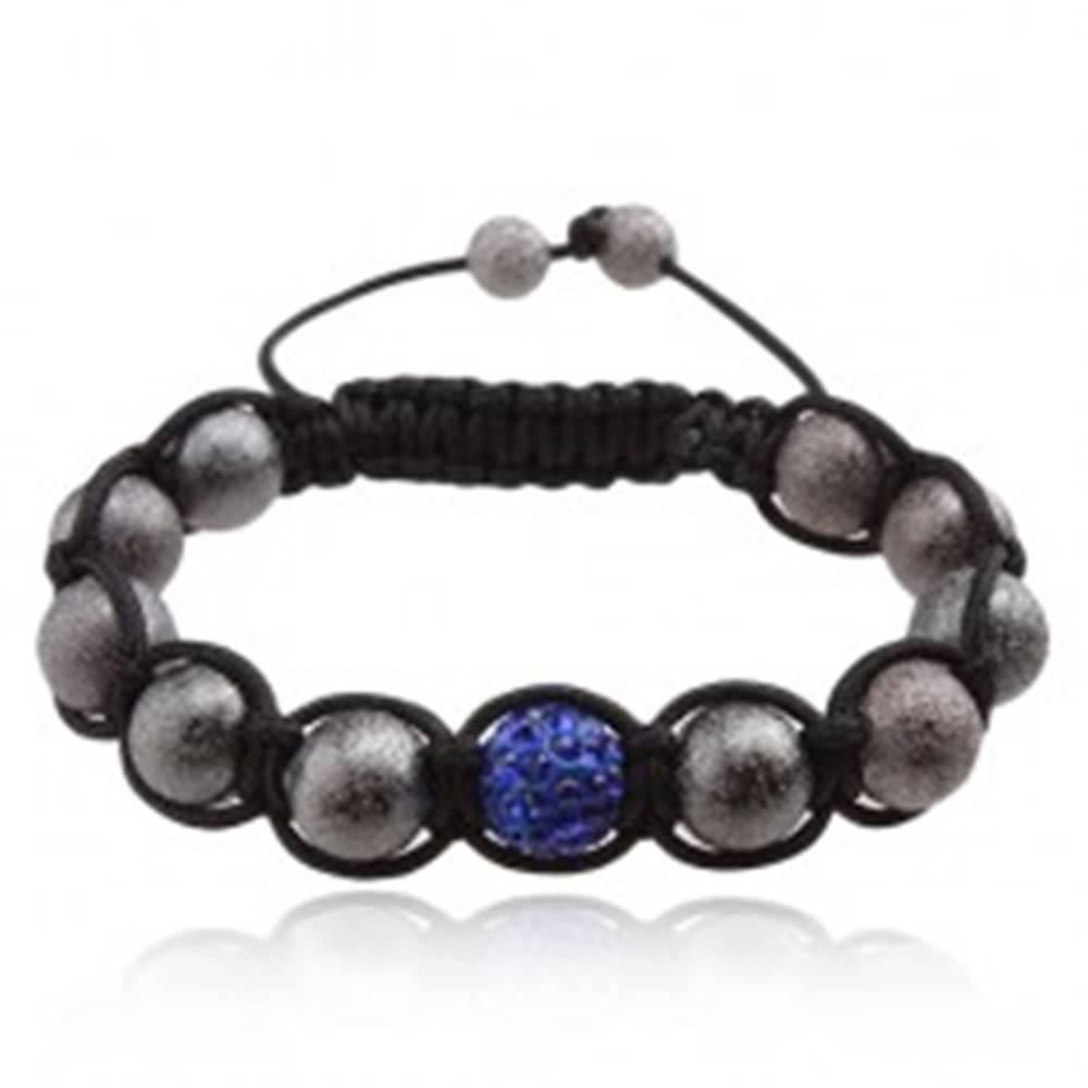 Šperky eshop Shamballa náramok, sivé korálky, tmavomodrá zirkónová gulička