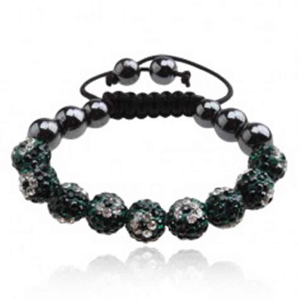 Šperky eshop Shamballa náramok, zelené zirkónové guľôčky so vzorom kvetov