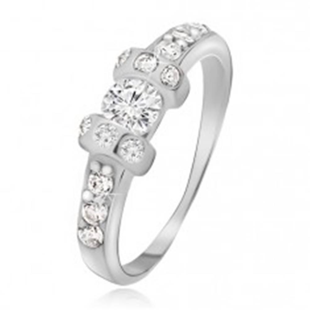 Šperky eshop Strieborný prsteň 925 - dve vystúpené obruče, číry okrúhly zirkón - Veľkosť: 48 mm