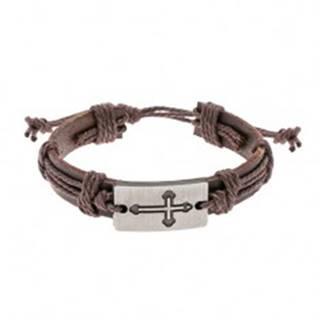 Hnedý kožený náramok so šnúrkami, obdĺžnik s vyrytým jetelovým krížom