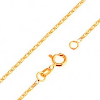 Ligotavá retiazka zo žltého 18K zlata - ligotavé prepojené oválne očká, 500 mm