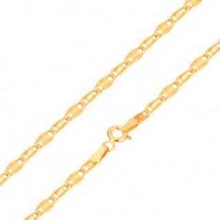 Náramok v žltom 14K zlate, hladký a lúčovitý článok, 190 mm