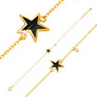 Náramok v žltom zlate 585 - čierna glazúrovaná hviezdička, zirkón čírej farby