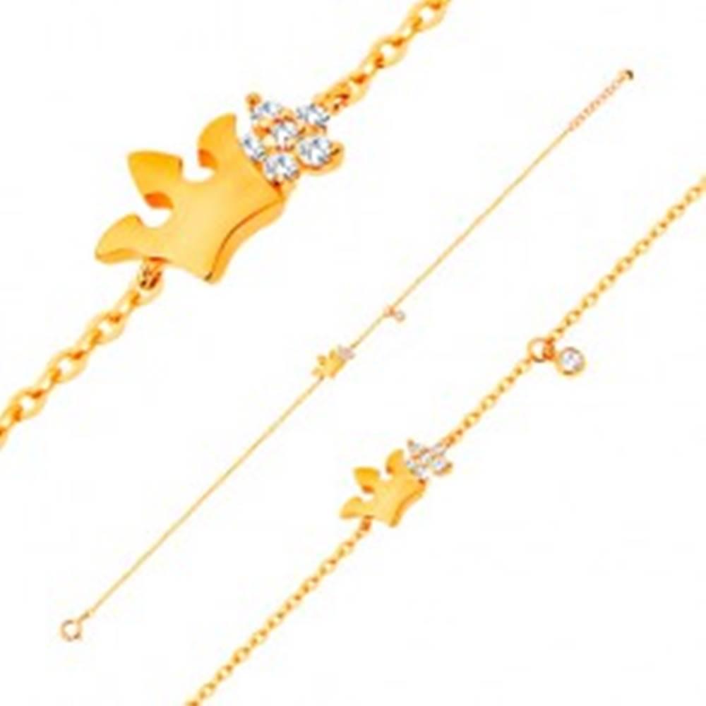 Šperky eshop Náramok zo žltého 14K zlata - lesklá korunka a číry zirkónový kvet, 180 mm