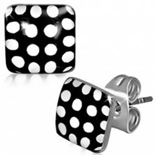 Náušnice z ocele, čierno-biele bodkované štvorce