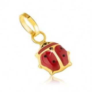 Prívesok v žltom 14K zlate - trblietavá červeno-čierna lienka s glazúrou