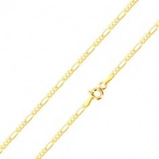 Retiazka v žltom 14K zlate - tri drobné a jedno podlhovasté očko, 450 mm
