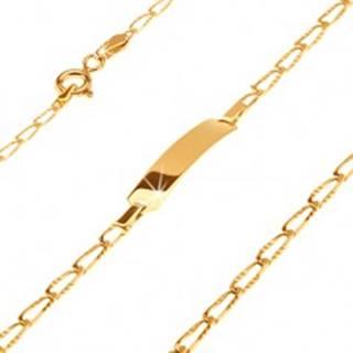 Zlatý 14K náramok s lesklou platničkou - podlhovasté ryhované očká, 170 mm
