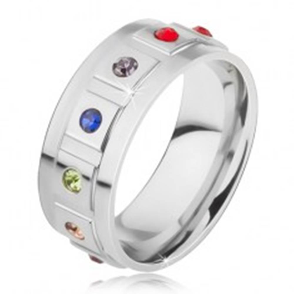 Šperky eshop Oceľová obrúčka, štvorce s okrúhlymi farebnými kamienkami - Veľkosť: 49 mm