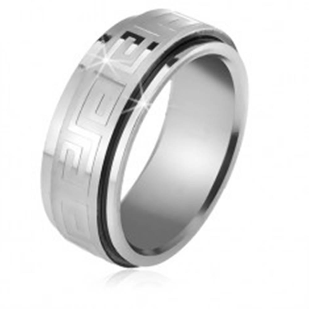 Šperky eshop Oceľový prsteň, točiaca sa matná obruč s lesklým gréckym kľúčom - Veľkosť: 56 mm