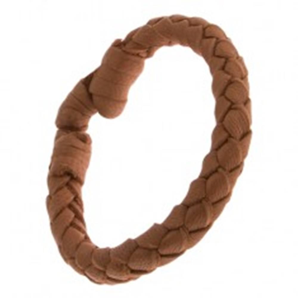 Šperky eshop Orieškovohnedý kožený náramok, oblý pletenec