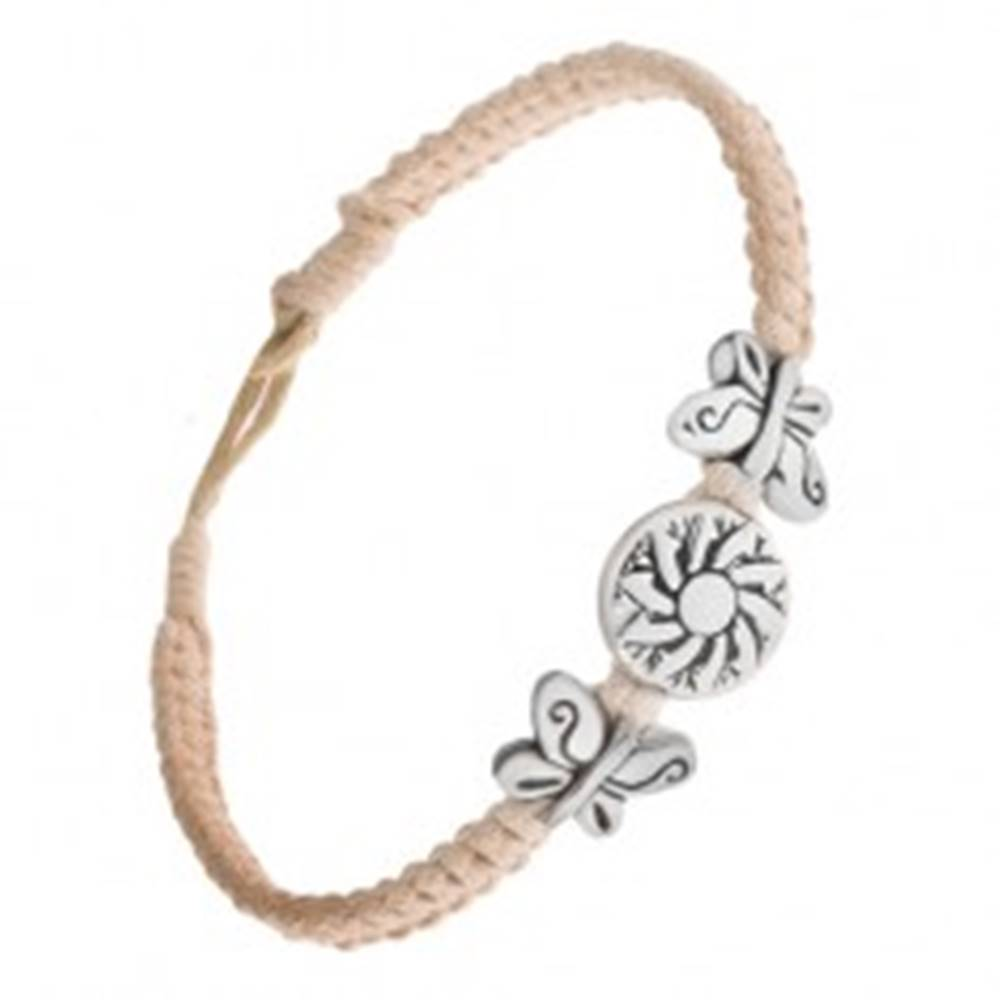 Šperky eshop Pletený béžový náramok zo šnúrok, kruhová známka s kvetom, motýle