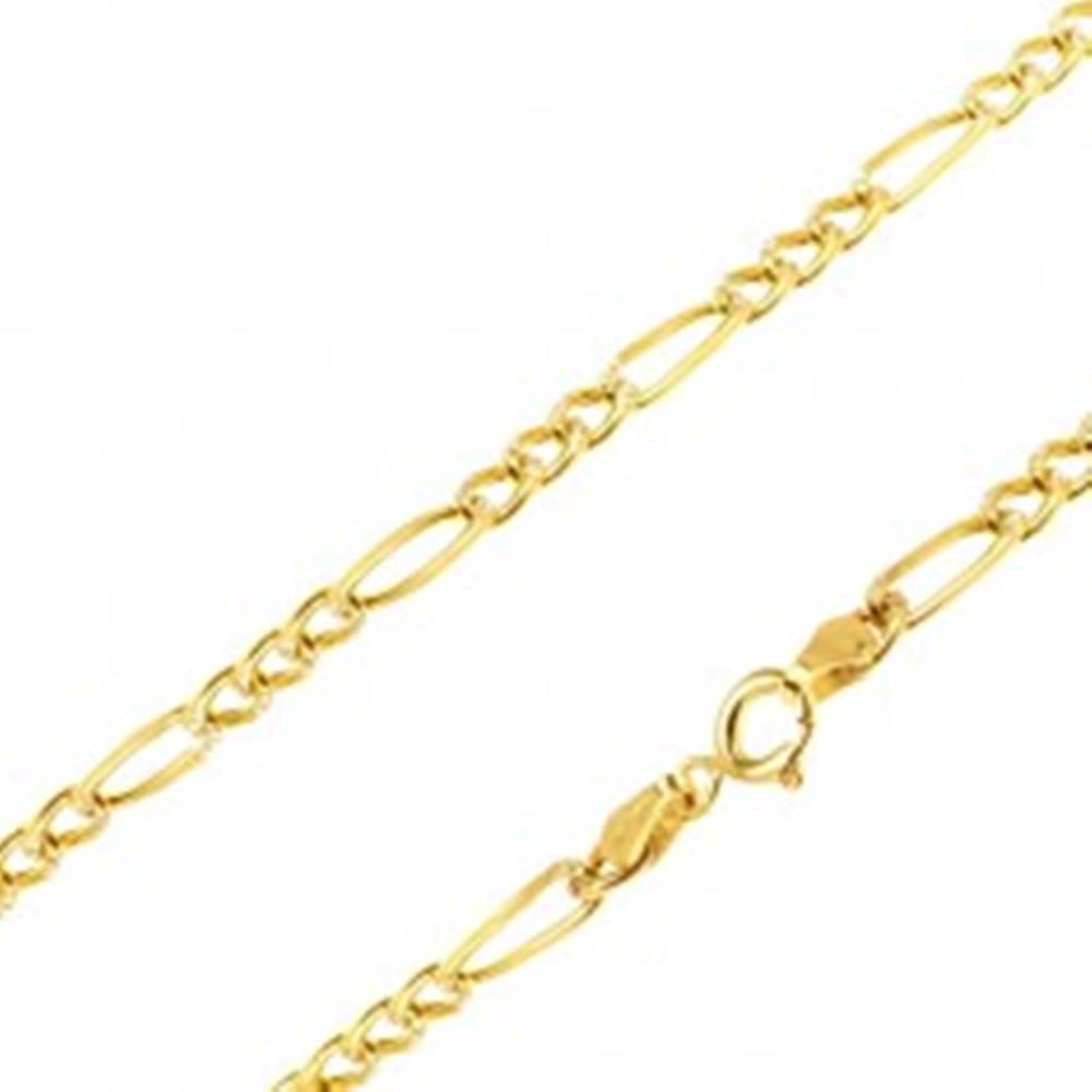 Šperky eshop Retiazka zo žltého 14K zlata - tri malé očká a jedno podlhovasté, ryhy, 445 mm
