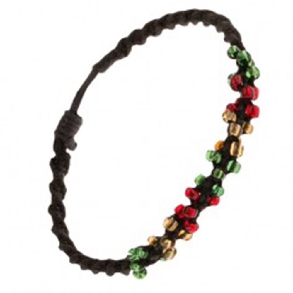 Šperky eshop Špirálový náramok z čiernych šnúrok a farebných korálok