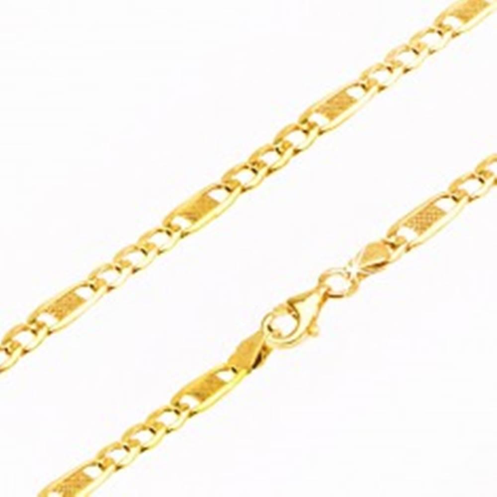 Šperky eshop Zlatá retiazka 585 - tri oválne očká a jedno dlhšie s mriežkou, 550 mm