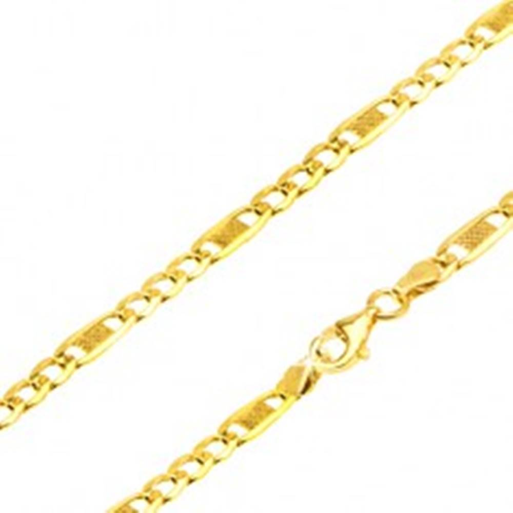 Šperky eshop Zlatá retiazka 585 - tri oválne očká, podlhovastý článok s mriežkou, 500 mm