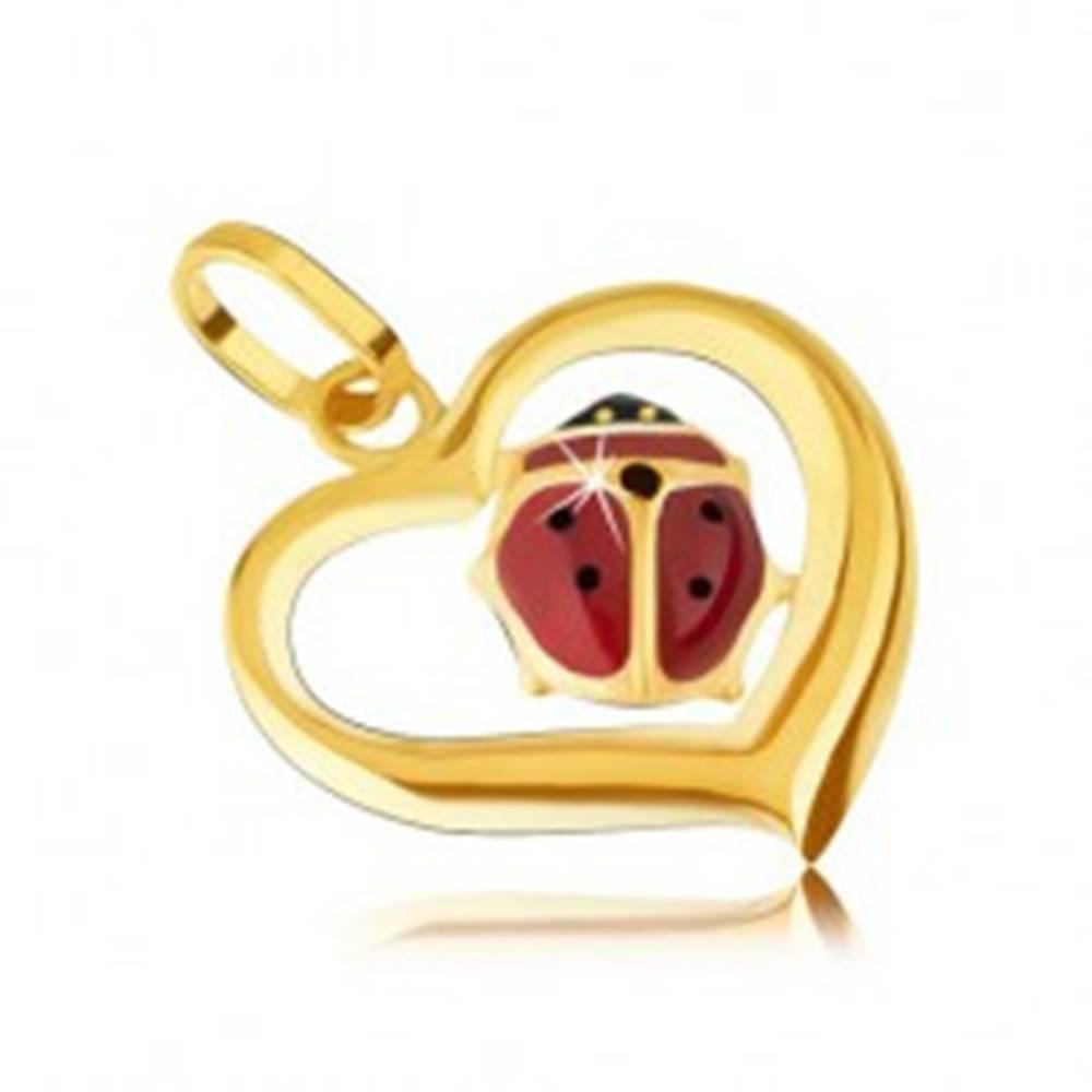Šperky eshop Zlatý prívesok 585 - obrys nepravidelného srdca, glazúrovaná lienka