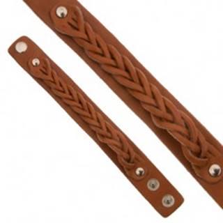 Karamelovohnedý kožený náramok, pletený vrkočový pás