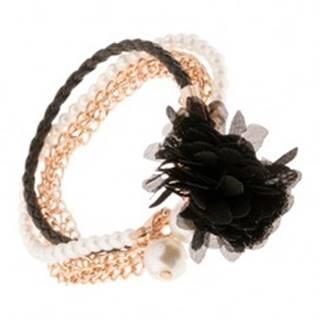 Multináramok - čierny pletenec, retiazky zlatej farby, korálky, čierny kvet