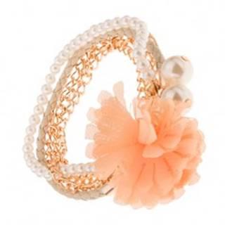 Multináramok - zlaté retiazky, béžový pletenec, korálky, oranžový kvet