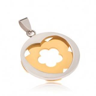 Oceľový prívesok - kruh striebornej farby so srdcovým výrezom, kvet zlatej farby