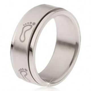 Oceľový prsteň - točiaca sa matná obruč, potlač šľapají chodidiel - Veľkosť: 57 mm