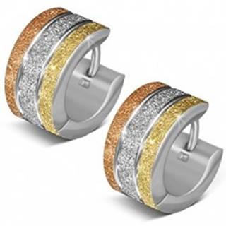 Pieskované okrúhle náušnice z ocele, tri farebné pásy