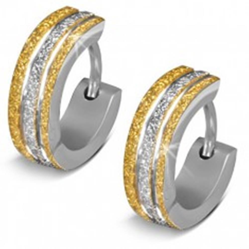 Šperky eshop Ligotavé oceľové náušnice - krúžky, dvojfarebné pieskované pásy