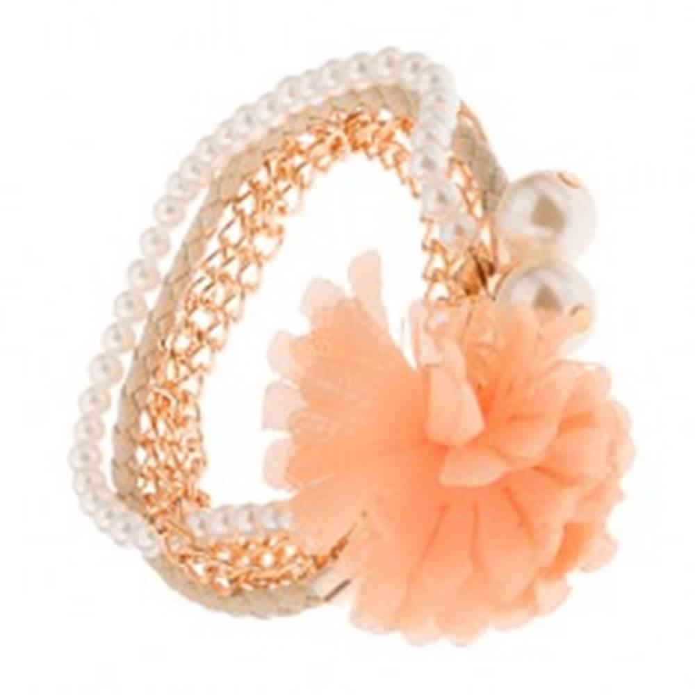 Šperky eshop Multináramok - zlaté retiazky, béžový pletenec, korálky, oranžový kvet