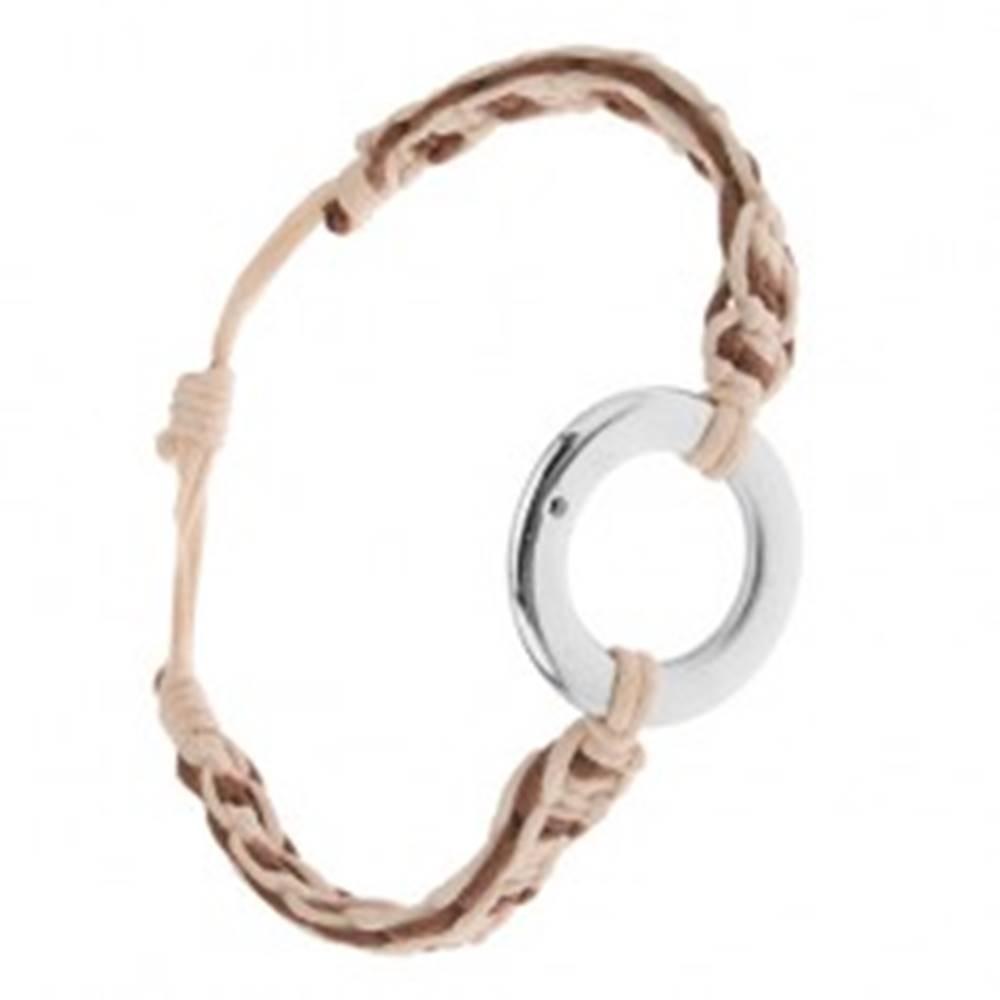 Šperky eshop Náramok z kávovohnedých a béžových šnúrok, kruhový prívesok