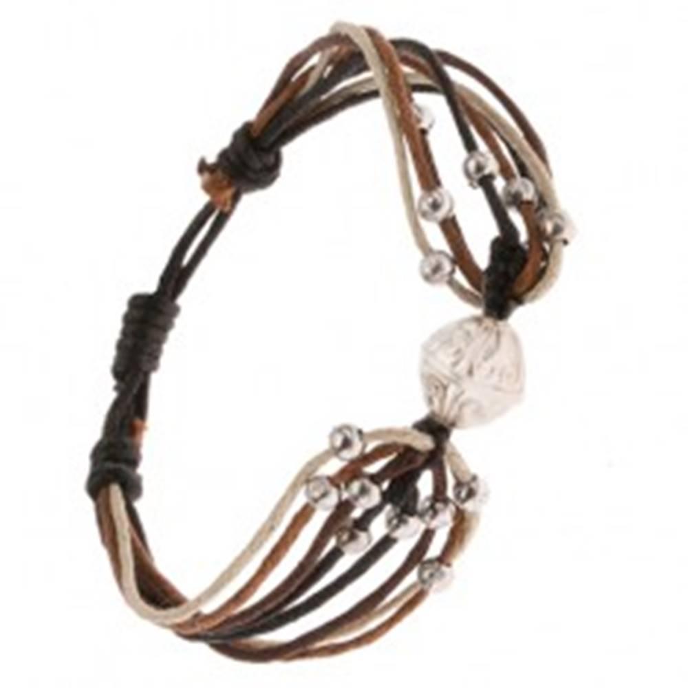 Šperky eshop Náramok zo šnúrok béžovej, čiernej a hnedej farby, guľôčky, korálka